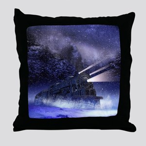 Snowy Night Train Throw Pillow